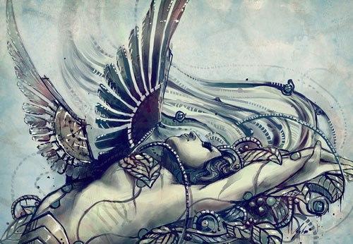 摩羯手绘简约纹身
